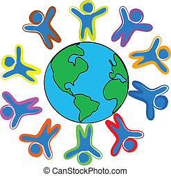 Happy childrens around the world illustration