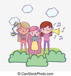 happy childrens day, band musical kids with microphone and trumpets