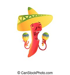 Happy chili pepper character in sombrero playing Mexican maracas