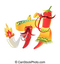 Happy chili peppers character in sombrero playing Mexican maracas