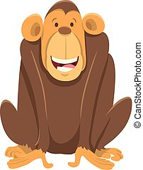 happy chimpanzee ape animal character - Cartoon Illustration...