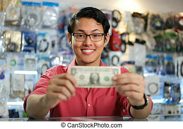 Happy Chinese Man Showing First Dollar Earning In PC Shop -...