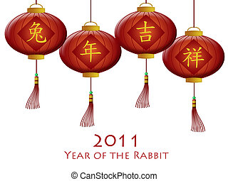 Happy Chinese New Year 2011 Rabbit Red Lanterns