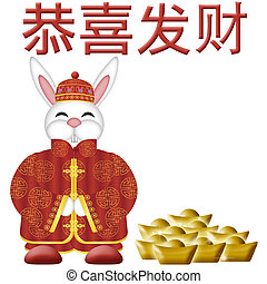 Happy chinese new year 2011 with colorful rabbit and wishes symbol happy chinese new year 2011 with colorful rabbit and wishes symbol illustration on gold m4hsunfo