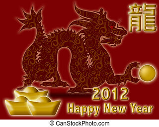 Happy Chinese New Year 2012 with Dragon and Symbol Red