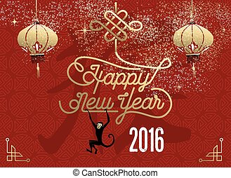 Happy chinese new year 2016 red