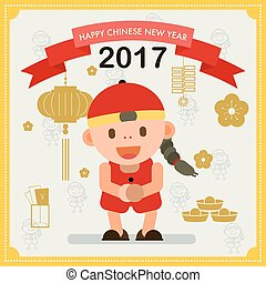 Happy Chinese New Year 2017. Chiness boy greeting for wealth and happiness.