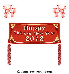happy chinese new year 2018 banner with balloons