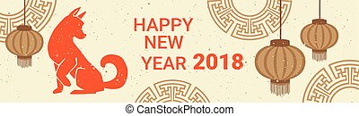 Happy Chinese New Year 2018 Horizontal Bannner With Chinese...