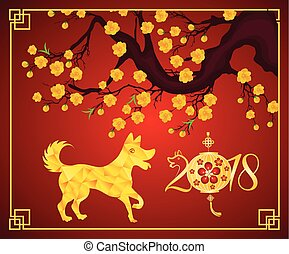 Happy Chinese New Year 2018 year of the dog. Lunar new year...