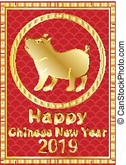 Happy chinese new year 2019 banner card