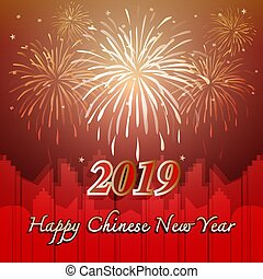 Happy chinese new year 2019 with firework background