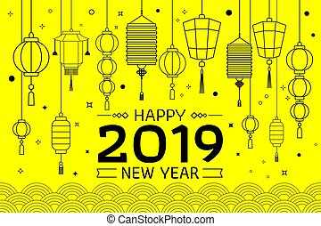 Happy Chinese New Year 2019 Yellow Background