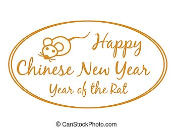 Happy Chinese new year 2020 card with calligraphy text in golden line oval and cute rat zodiac isolated on white background vector EPS 10