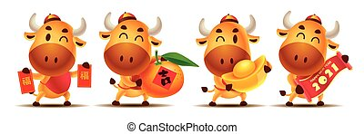 Happy Chinese New Year 2021. Cartoon cute Ox character set holding Red Packet, Tangerine Orange, Gold Ingot and Scroll couplet. The year of the Ox. Translation: lucky  - Vector