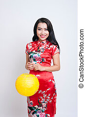 Happy Chinese new year. Asian woman with gesture of ...