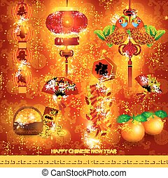 Happy Chinese New Year Decoration Set Vector Design