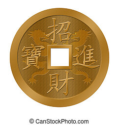 Happy Chinese New Year Dragon Gold Coin Illuistration