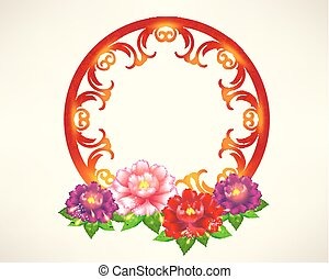 happy chinese new year frame decoration