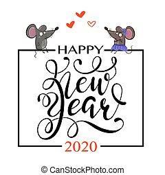 Happy Chinese new year greeting card. 2020 Rat zodiac.