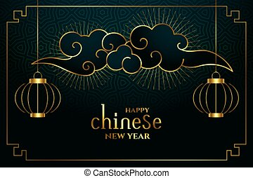 happy chinese new year in golden style background