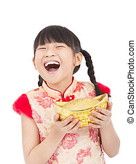 happy  chinese new year. little girl showing  gold for lucky. chinese mean get rich and happy