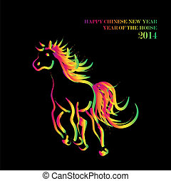 Happy Chinese New Year of horse 2014 postcard - Chinese New...