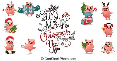 Happy Chinese New Year of pig set with christmas lettering text logo design