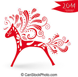 Happy Chinese New Year of the Horse postcard