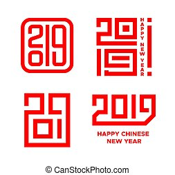 Happy Chinese New Year of the Pig 2019. Icons set