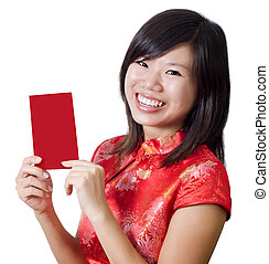 Oriental girl with cheongsam wishing you a happy Chinese New Year. Blank envelope ready for text.