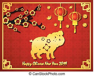 Happy Chinese new year with golden pig in the frame