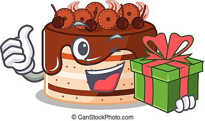 Happy chocolate cake character having a gift box
