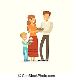 Happy Christian family mother, father and little son. People celebrating Easter holiday with traditional food eggs and cake. Cartoon people characters. Flat vector design