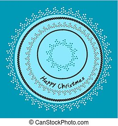Happy Christmas background with stars and rope frame