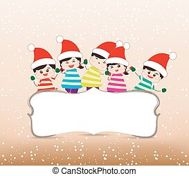 happy christmas banner with kids