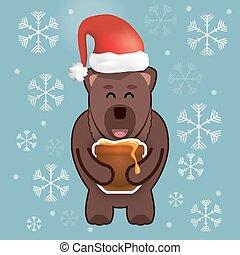 happy christmas bear with a pot of honey