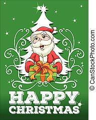 Happy Christmas card with santa