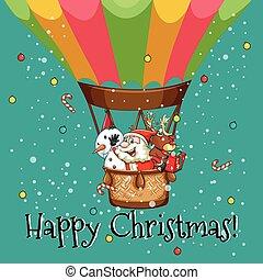 Happy Christmas card with Santa on balloon