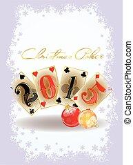 Happy Christmas casino card, vector
