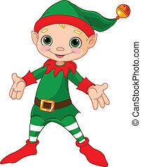 Happy Christmas Elf  - Illustration of happy Christmas Elf