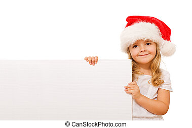 Happy christmas girl with message board