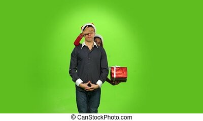 happy christmas holiday couple, gift box present. green screen