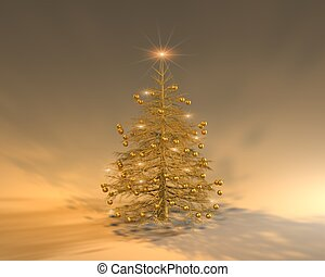 a golden Christmas tree with blinking stars on it