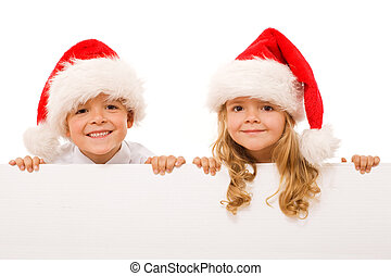 Happy christmas kids with white sign - isolated - Happy kids...