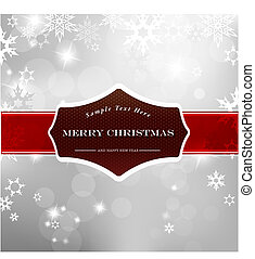 Happy Christmas on silver background with snow flakes.