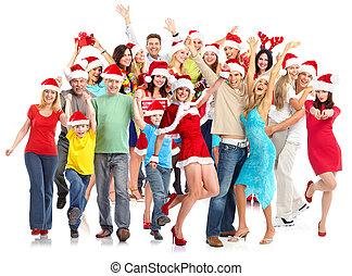 Happy Christmas people group.