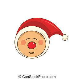 Happy Christmas pixie with red nose and hat