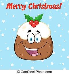 Happy Christmas Pudding Character