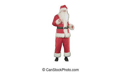 Happy Christmas Santa Claus having fun and dancing on white...